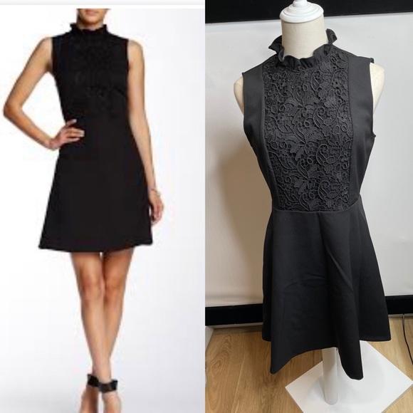 Zara mock neck black ruffled dress M knee lenght